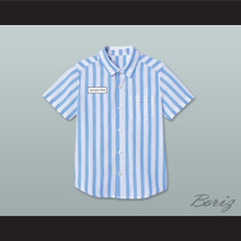 Dexter Good Burger Light Blue/ White Striped Polo Shirt 4