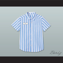 Ed Good Burger Light Blue/ White Striped Polo Shirt 4