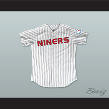 Lt. Commander Worf 32 Deep Space Niners White Pinstriped Baseball Jersey