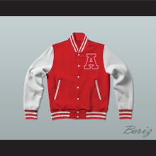 Adams College Red Varsity Letterman Jacket-Style Sweatshirt
