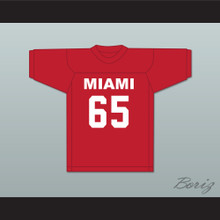 Puddin Patterson Sr 65 Miami Red Football Jersey Semi-Tough