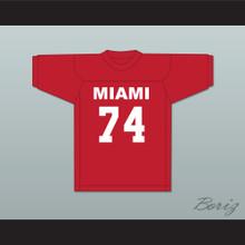 T.J. Lambert 74 Miami Red Football Jersey Semi-Tough