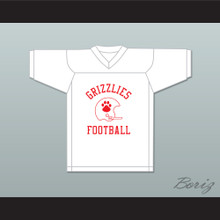 B.J. Caine 55 Minnville High School Grizzlies White Practice Football Jersey Quarterback Princess