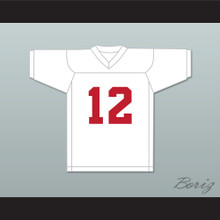 Greg Cima 12 Mustangs High School White Practice Football Jersey Windrunner 1