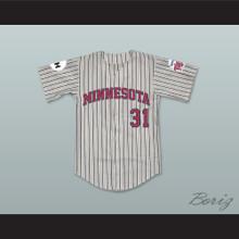 Jerry Johnson 31 Minnesota Away Pinstriped Baseball Jersey Little Big League