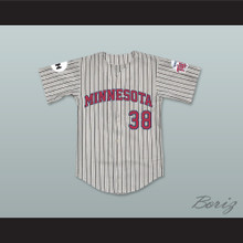 John 'Blackout' Gatling 38 Minnesota Away Pinstriped Baseball Jersey Little Big League