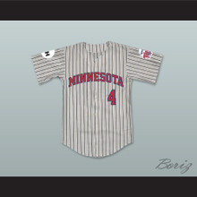 Lou Collins 4 Minnesota Away Pinstriped Baseball Jersey Little Big League
