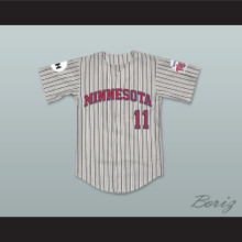 Mickey Scales 11 Minnesota Away Pinstriped Baseball Jersey Little Big League