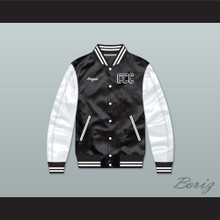 Kingpin Cartel Community College Black/ White Varsity Letterman Satin Bomber Jacket