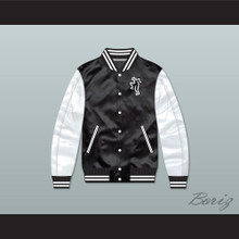 Air Fresh Black/ White Varsity Letterman Satin Bomber Jacket
