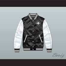 Bad Boy Black/ White Varsity Letterman Satin Bomber Jacket
