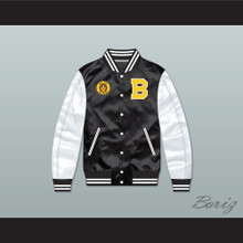 Bel-Air Academy Black/ White Varsity Letterman Satin Bomber Jacket