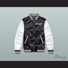 Birdmen Tournament Shoot Out Black/ White Varsity Letterman Satin Bomber Jacket