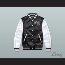 NYC Manhattan Black/ White Varsity Letterman Satin Bomber Jacket