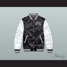 NYC Queens Black/ White Varsity Letterman Satin Bomber Jacket