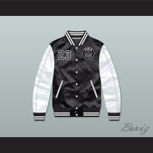 Michael Jordan 23 Paris Saint-Germain F.C. Black/ White Varsity Letterman Satin Bomber Jacket