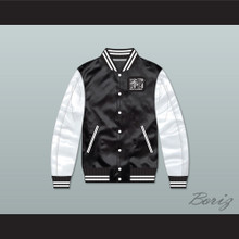 Bricklayers Basketball 3rd Annual Rock N' Jock B-Ball Jam Black/ White Varsity Letterman Satin Bomber Jacket