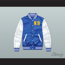 Air Bud K9 Timberwolves Blue/ White Varsity Letterman Satin Bomber Jacket 2