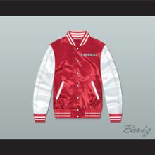 Eternal Red/ White Varsity Letterman Satin Bomber Jacket