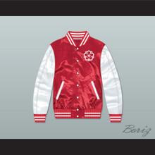 Japanese Flower Design Red/ White Varsity Letterman Satin Bomber Jacket