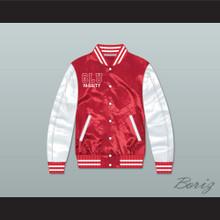 Grand Lakes University Hooters Red/ White Varsity Letterman Satin Bomber Jacket
