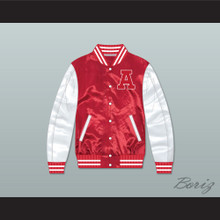 Adams College Red/ White Varsity Letterman Satin Bomber Jacket