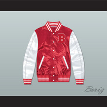 Justin Bieber Believe Red/ White Varsity Letterman Satin Bomber Jacket