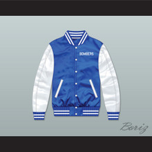 Bombers Tournament Shoot Out Blue/ White Varsity Letterman Satin Bomber Jacket
