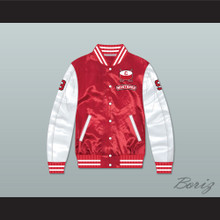 Derek Sutton 9 Hamilton Mustangs Red/ White Varsity Letterman Satin Bomber Jacket