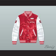 Derek Sutton 9 Hamilton Mustangs Red/ White Varsity Letterman Satin Bomber Jacket