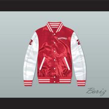 Huey Hewitt 2 Hamilton Mustangs Red/ White Varsity Letterman Satin Bomber Jacket