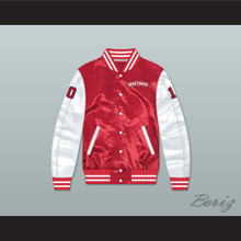 Dean Youngblood 10 Hamilton Mustangs Red/ White Varsity Letterman Satin Bomber Jacket