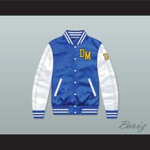 Dirty Money Blue/ White Varsity Letterman Satin Bomber Jacket