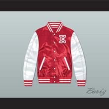 East High School Wildcats Red/ White Varsity Letterman Satin Bomber Jacket 1