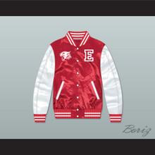 East High School Wildcats Red/ White Varsity Letterman Satin Bomber Jacket 2