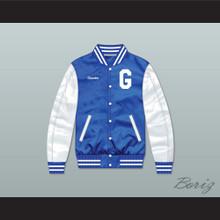 Grinder Grind Institute Blue/ White Varsity Letterman Satin Bomber Jacket