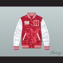 Hard Knock Life 98 Red/ White Varsity Letterman Satin Bomber Jacket