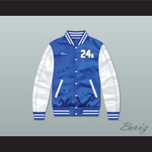 Bruno Mars 24K Hooligans Blue/ White Varsity Letterman Satin Bomber Jacket 2