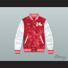 Bruno Mars 24K Hooligans Red/ White Varsity Letterman Satin Bomber Jacket 1