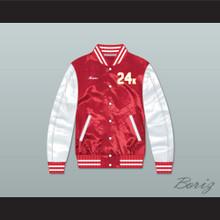 Bruno Mars 24K Hooligans Red/ White Varsity Letterman Satin Bomber Jacket 2