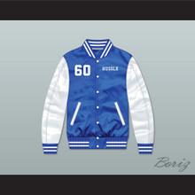 Nipsey Hussle 60 Crenshaw Blue/ White Varsity Letterman Satin Bomber Jacket