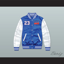 Like Mike 23 Blue/ White Varsity Letterman Satin Bomber Jacket