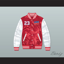 Like Mike 23 Red/ White Varsity Letterman Satin Bomber Jacket