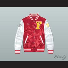 Nutso High School Basketball Red/ White Varsity Letterman Satin Bomber Jacket