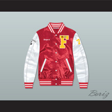 Thomas Shepard High School Basketball Red/ White Varsity Letterman Satin Bomber Jacket