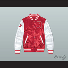 Charles Jefferson 33 Ridgemont Wolves Red/ White Varsity Letterman Satin Bomber Jacket