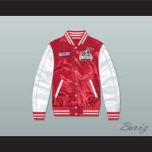 Stripes Rock N' Jock All Star Jam 2002 Red/ White Varsity Letterman Satin Bomber Jacket