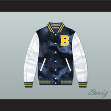 Bel-Air Academy Navy Blue/ White Varsity Letterman Satin Bomber Jacket 1