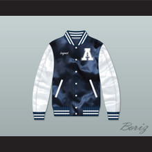 Hometown Legend Navy Blue/ White Varsity Letterman Satin Bomber Jacket
