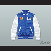 Bricklayers Basketball 7th Annual Rock N' Jock B-Ball Jam 1997 Blue/ White Varsity Letterman Satin Bomber Jacket